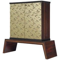 Exquisite Italian Illuminated Dry Bar Cabinet in Japanese Style