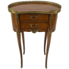 Exquisite Italian Kidney Shaped Inlay Mahogany Nightstand or End Table