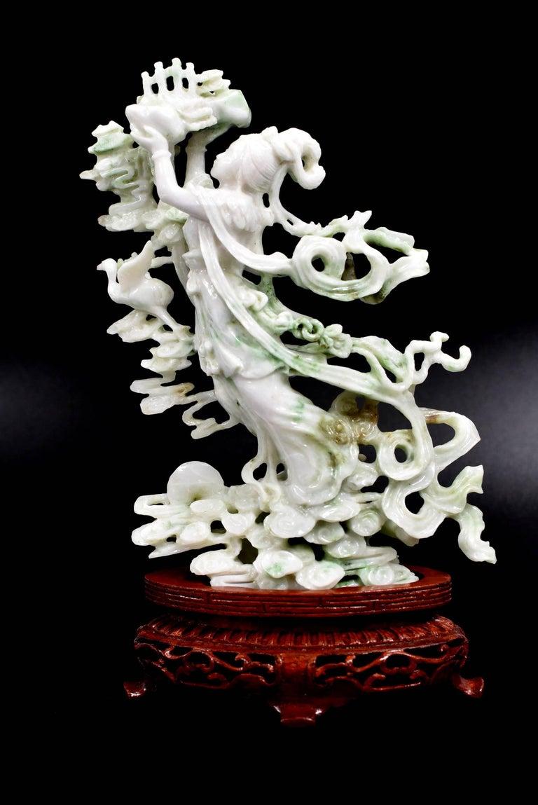 exquisite jade fairy statue  finely carved jadeite