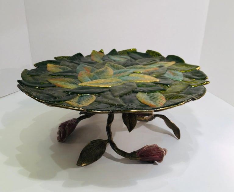 Exquisite Jay Strongwater 3 Roses and Leaves Enameled Metal Compote Cake Holder For Sale 5