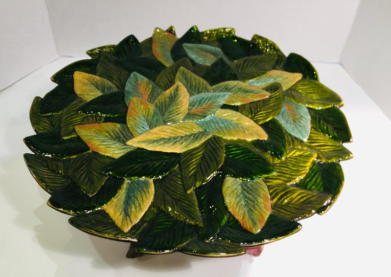 Exquisite Jay Strongwater 3 Roses and Leaves Enameled Metal Compote Cake Holder For Sale 6