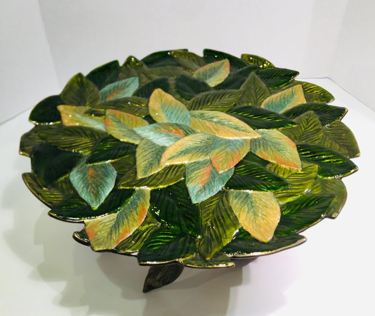 Very large, elegant, rose and leaf motif compote, cake holder or dessert plateau from the Jay Strongwater