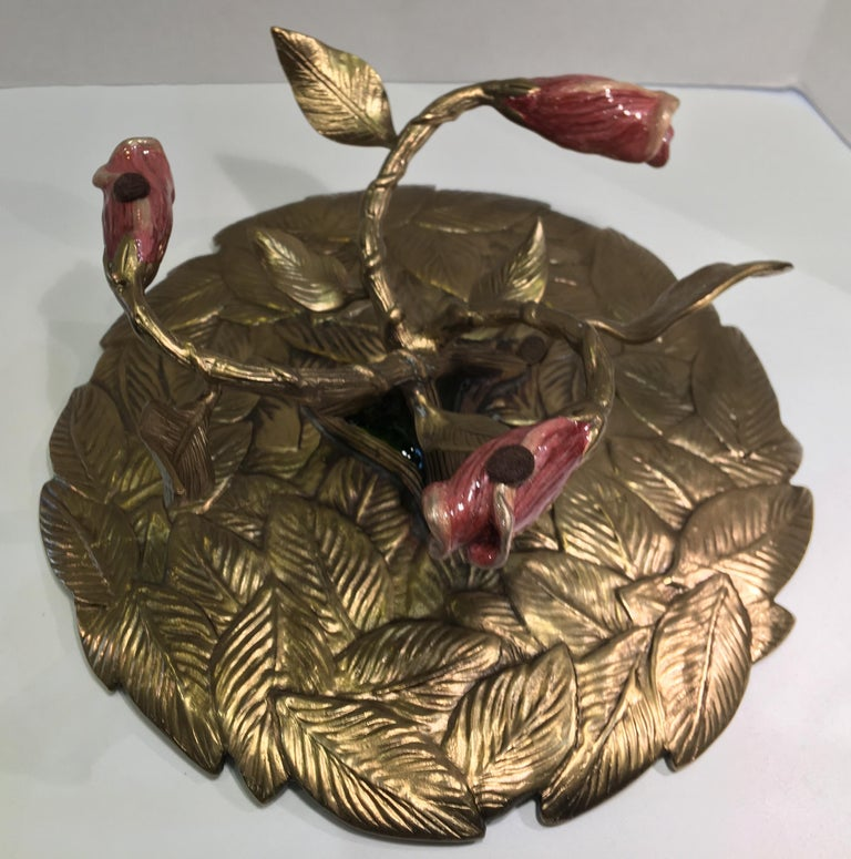Exquisite Jay Strongwater 3 Roses and Leaves Enameled Metal Compote Cake Holder For Sale 1