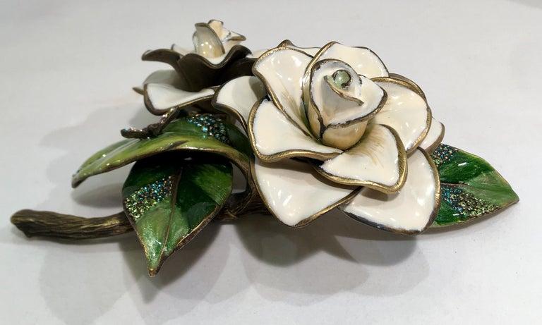Exquisites Jay Strongwater Jeweled Emaille Gardenia Blumen Objet d ' Art 2
