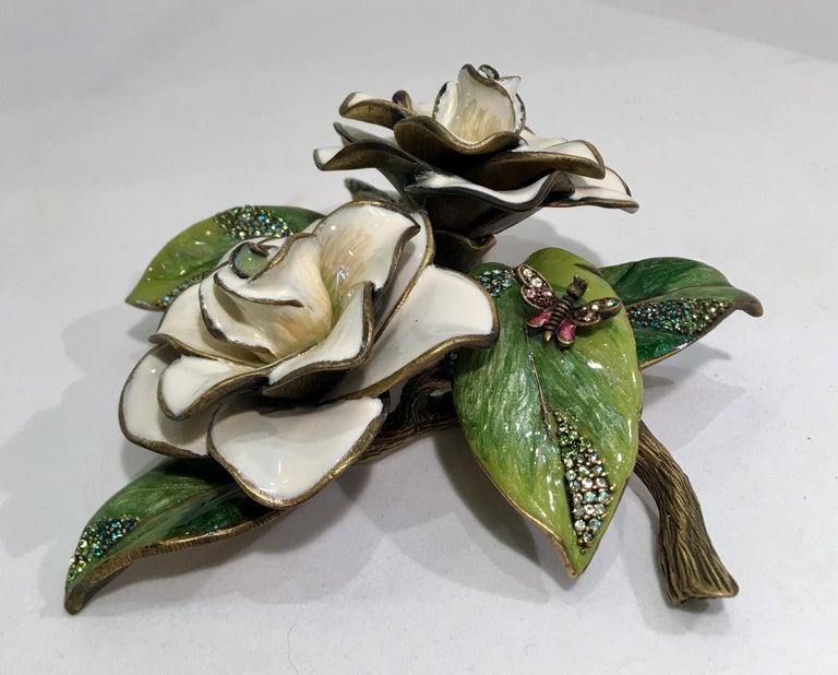 Exquisites Jay Strongwater Jeweled Emaille Gardenia Blumen Objet d ' Art 3