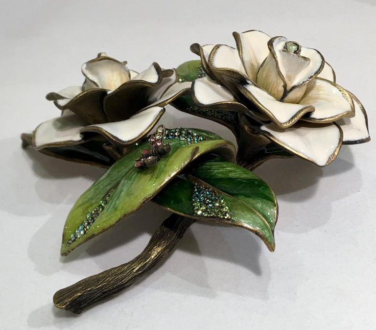 Exquisites Jay Strongwater Jeweled Emaille Gardenia Blumen Objet d ' Art 5