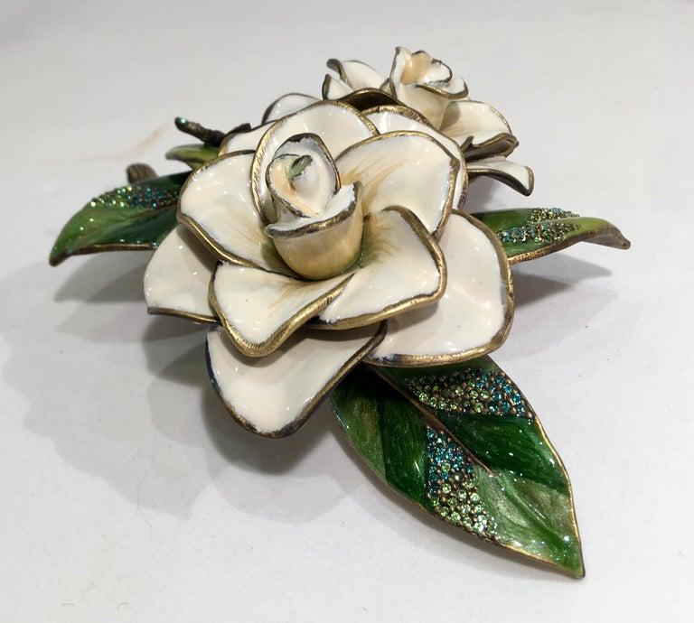 Exquisites Jay Strongwater Jeweled Emaille Gardenia Blumen Objet d ' Art 6