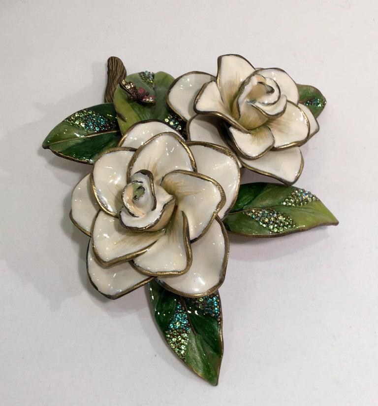 Exquisites Jay Strongwater Jeweled Emaille Gardenia Blumen Objet d ' Art 7
