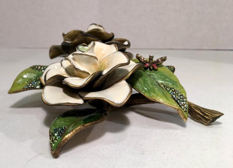 Exquisites Jay Strongwater Jeweled Emaille Gardenia Blumen Objet d ' Art 8