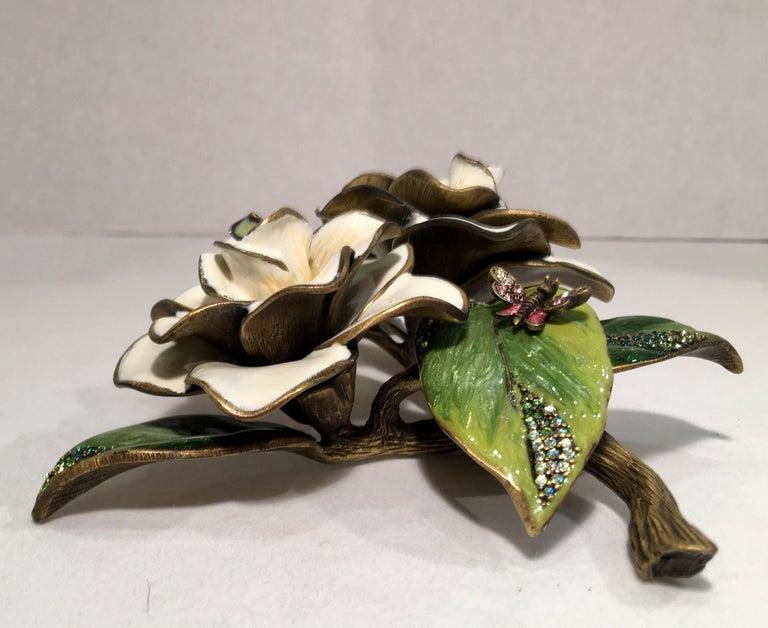 Exquisites Jay Strongwater Jeweled Emaille Gardenia Blumen Objet d ' Art 9