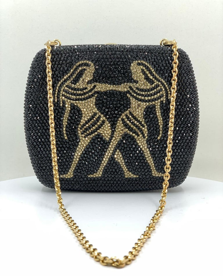 Personalize your look with this exquisite, handmade couture designer, Judith Leiber, crystal rounded square shaped Gemini minaudiere evening bag or evening clutch. Gemini is the zodiac sign for anyone born from May 21st to June 21st.   Miniaudiere