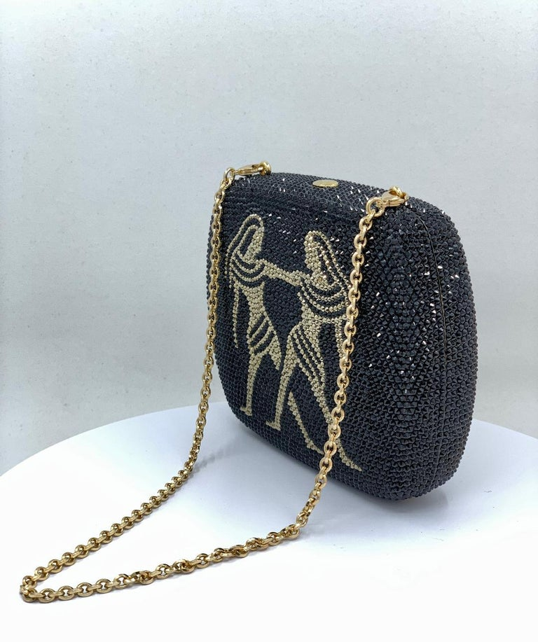 Exquisite Judith Leiber Zodiac Gemini Black Crystal Minaudiere Evening Bag  In Excellent Condition For Sale In Tustin, CA