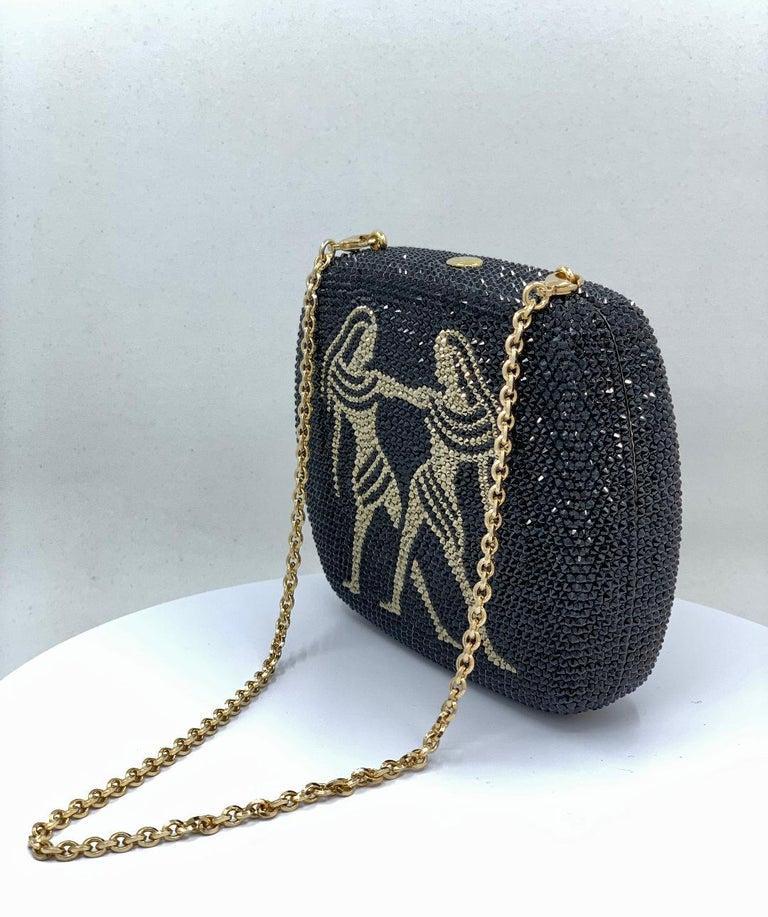 Exquisite Judith Leiber Zodiac Gemini Black Crystal Minaudiere Evening Bag  In Excellent Condition In Tustin, CA