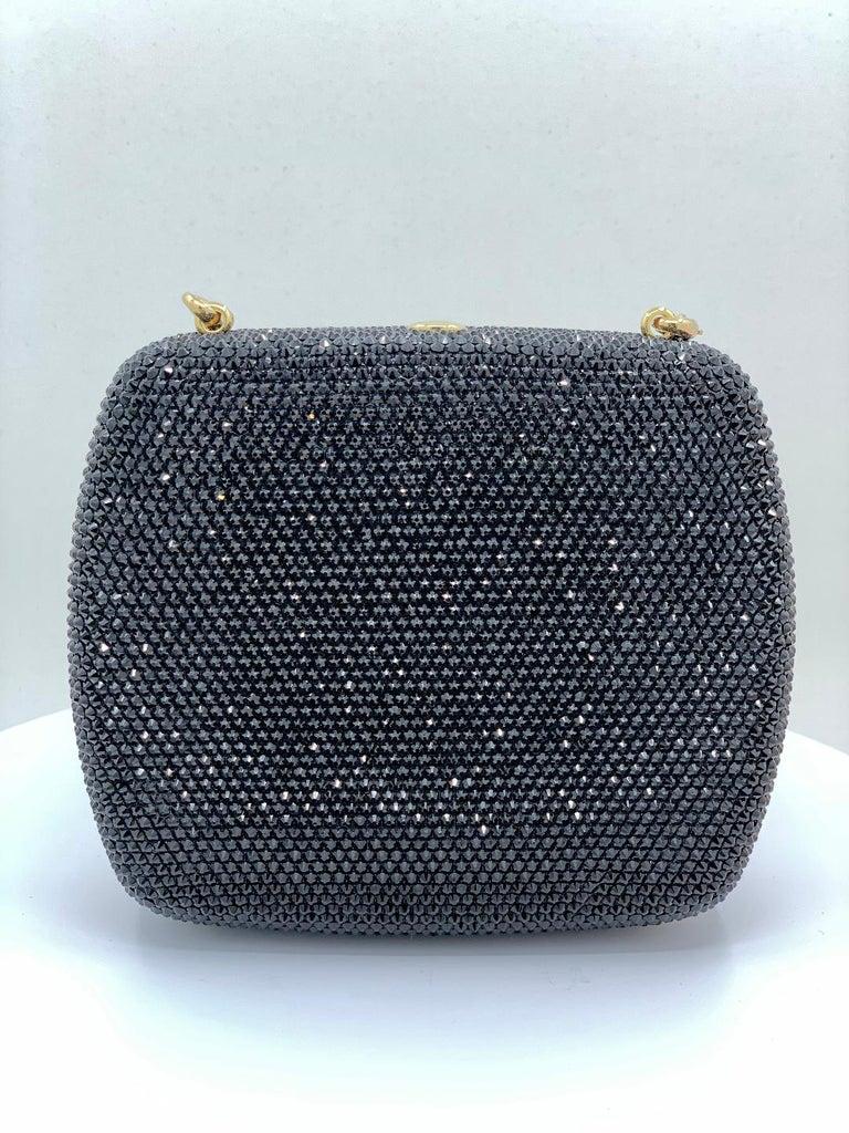 Women's Exquisite Judith Leiber Zodiac Gemini Black Crystal Minaudiere Evening Bag
