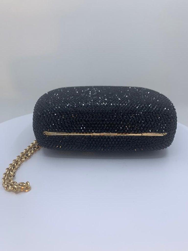 Exquisite Judith Leiber Zodiac Gemini Black Crystal Minaudiere Evening Bag  For Sale 1