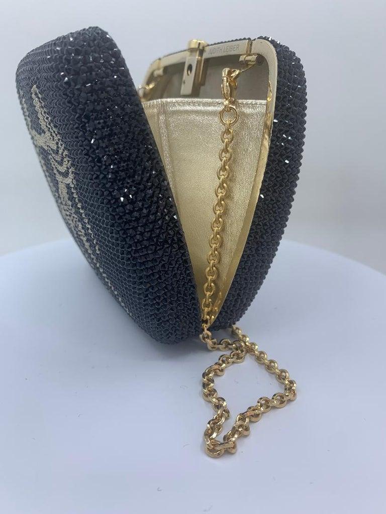 Exquisite Judith Leiber Zodiac Gemini Black Crystal Minaudiere Evening Bag  For Sale 2