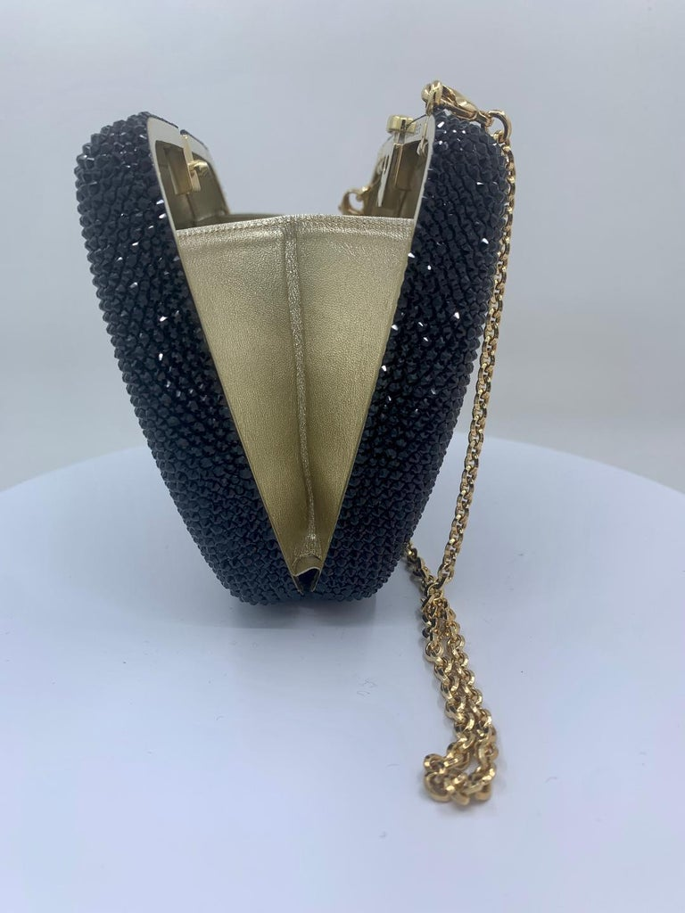 Exquisite Judith Leiber Zodiac Gemini Black Crystal Minaudiere Evening Bag  For Sale 3