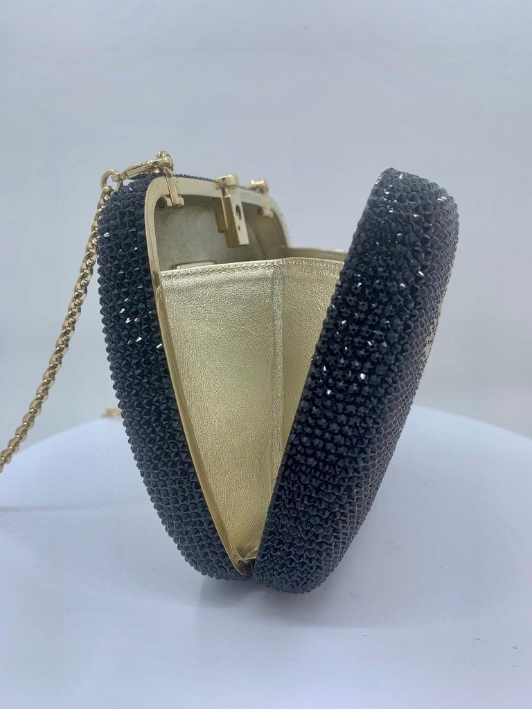 Exquisite Judith Leiber Zodiac Gemini Black Crystal Minaudiere Evening Bag  For Sale 4