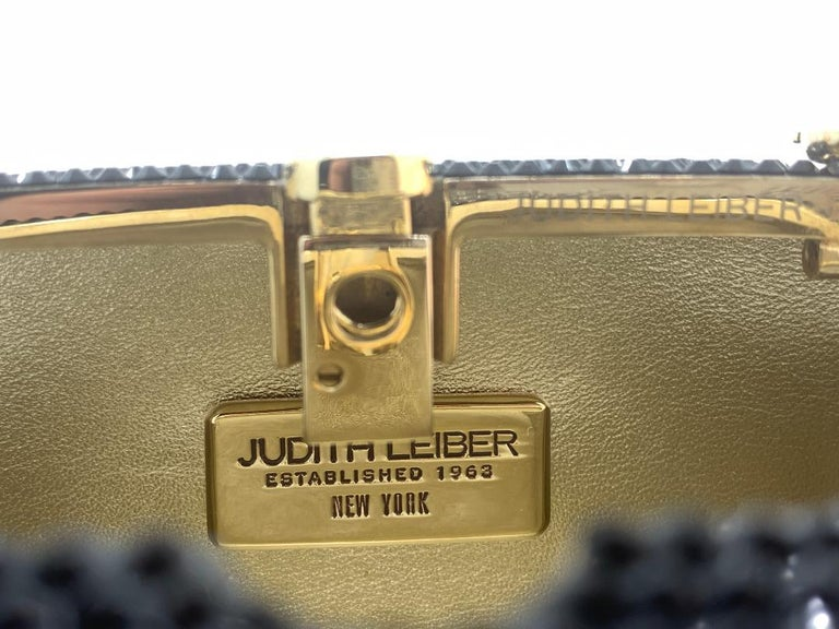 Exquisite Judith Leiber Zodiac Gemini Black Crystal Minaudiere Evening Bag  For Sale 5