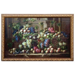 Exquisite Large European Still Life of Grapes on a Ledge, Unsigned