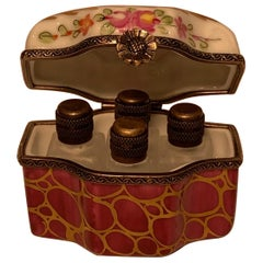 Exquisite Limoges France Peint Main Porcelain Box with 4 Perfume Bottles Inside