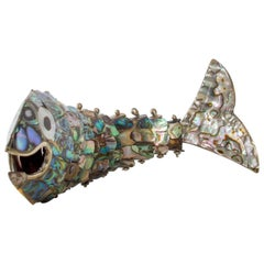 Exquisite Los Castillo Abalone Brass Fish Bottle Opener #1, Mexico, 1970s