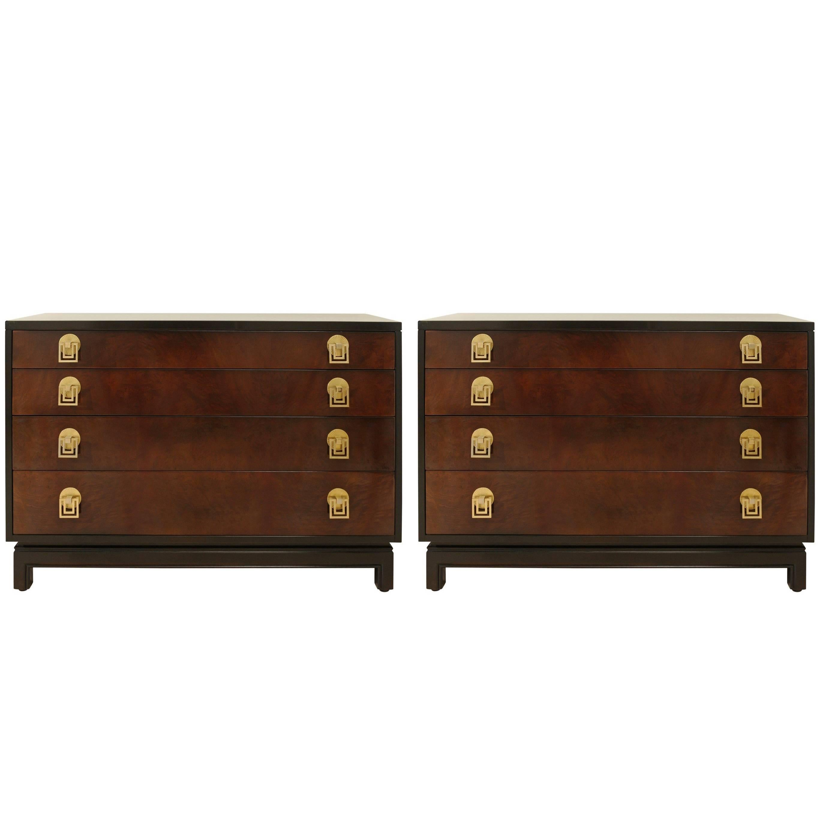 Exquisite Mahogany and Bookmatch Bird's-Eye Maple Chest by Renzo Rutili
