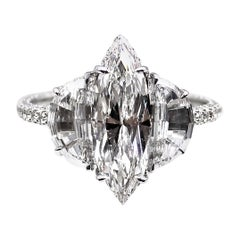 Exquisite Marquis Half-Moon GIA D Color Diamond Engagement Ring