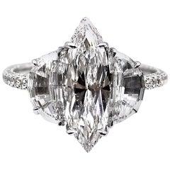Exquisite Marquis Half-Moon GIA D Color Diamond Engagement Ring