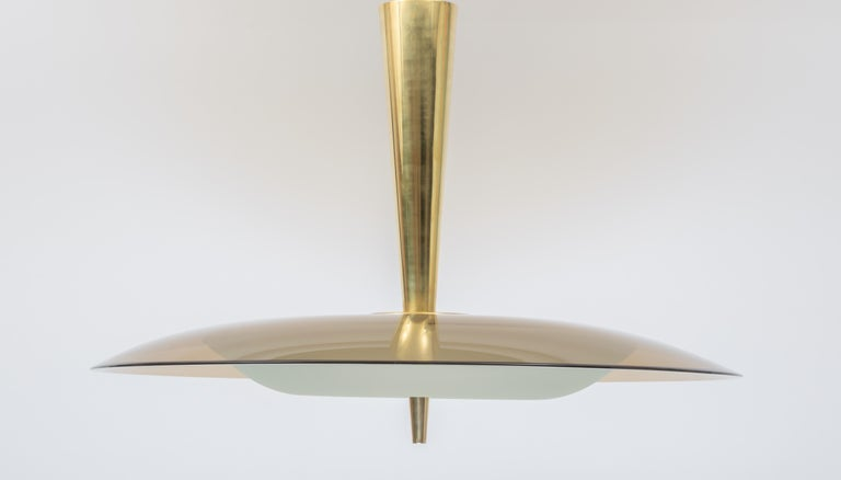 Exquisite Max Ingrand for Fontana Arte Round Glass Chandelier, Italy 1950's In Excellent Condition For Sale In New York, NY