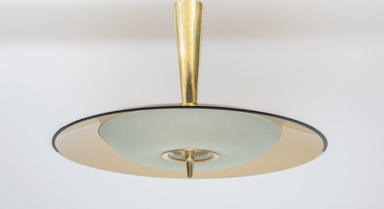 Mid-20th Century Exquisite Max Ingrand for Fontana Arte Round Glass Chandelier, Italy 1950's For Sale