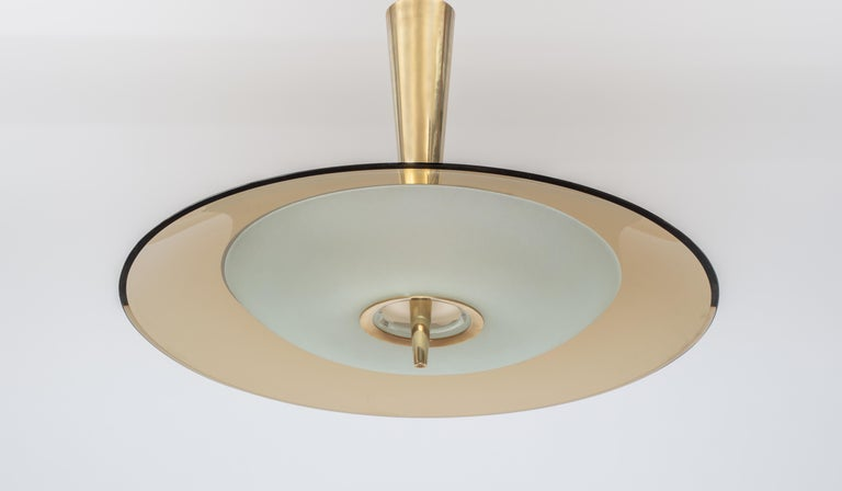 Brass Exquisite Max Ingrand for Fontana Arte Round Glass Chandelier, Italy 1950's For Sale