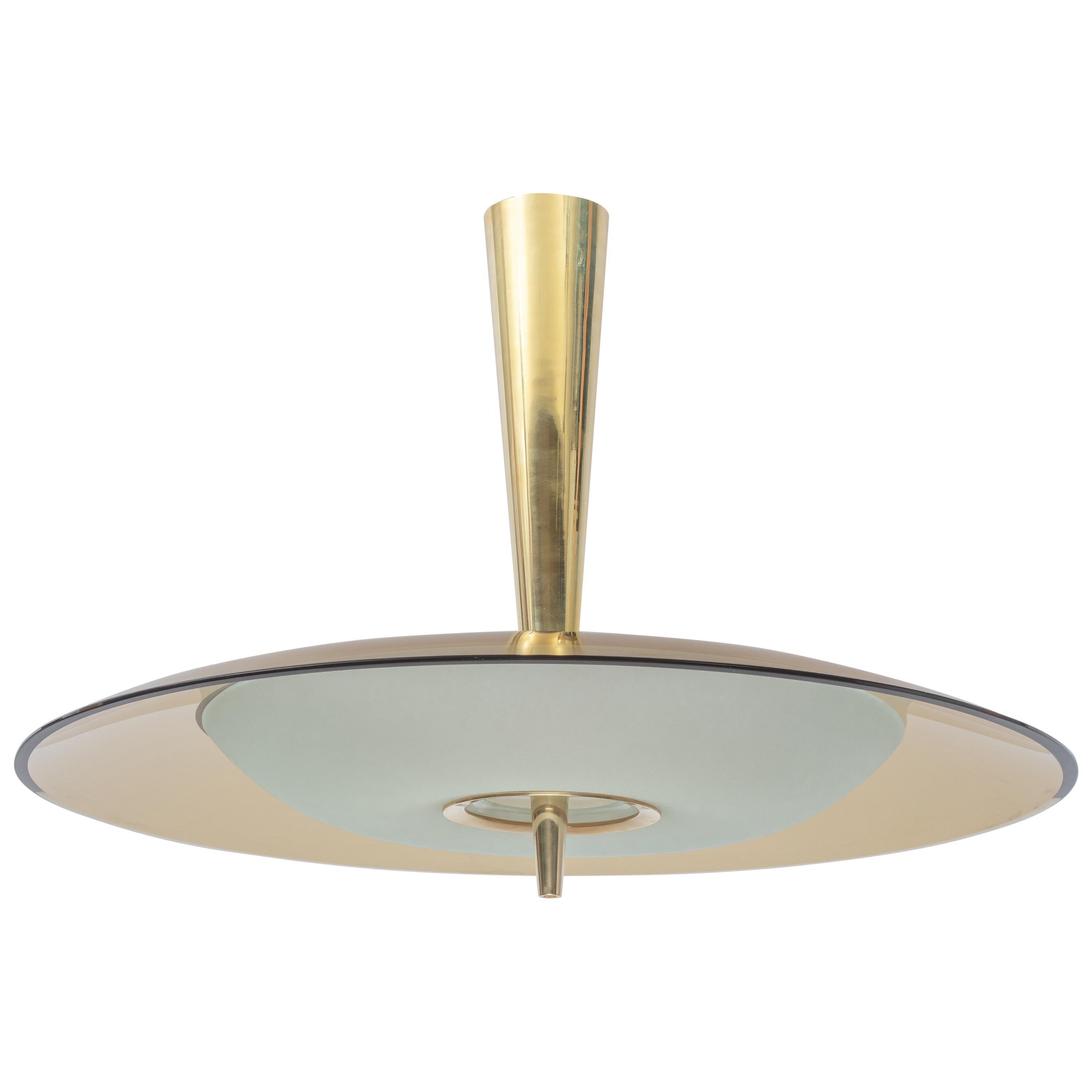 Exquisite Max Ingrand for Fontana Arte Round Glass Chandelier, Italy 1950's