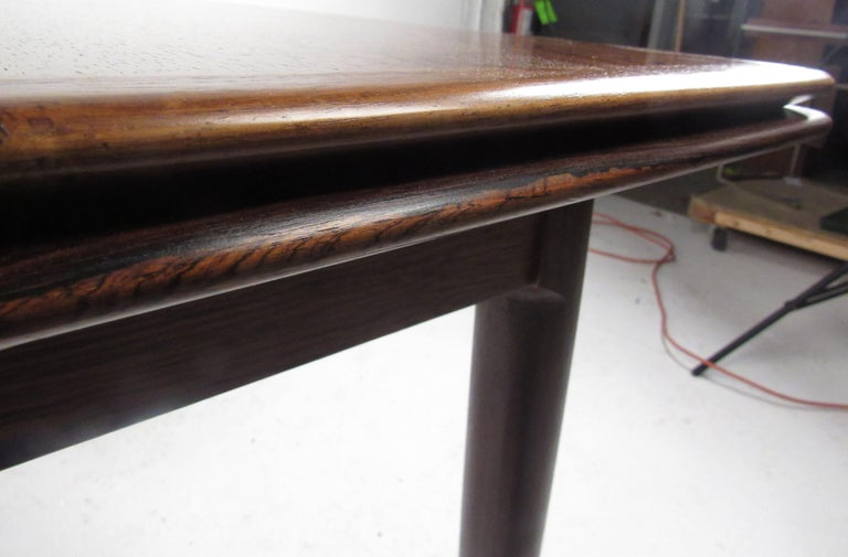 Exquisite Midcentury Danish Rosewood Draw Leaf Dining Table For Sale 6