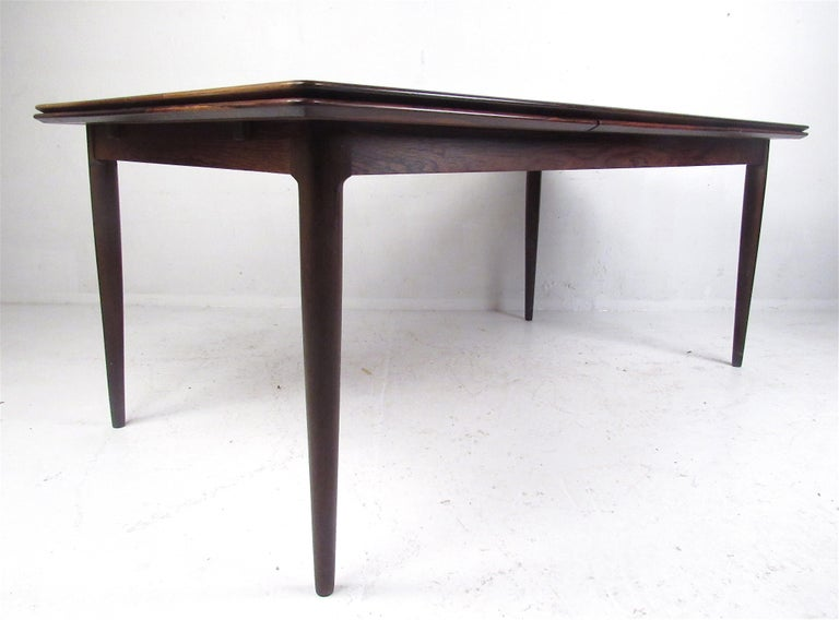 Exquisite Midcentury Danish Rosewood Draw Leaf Dining Table For Sale 2