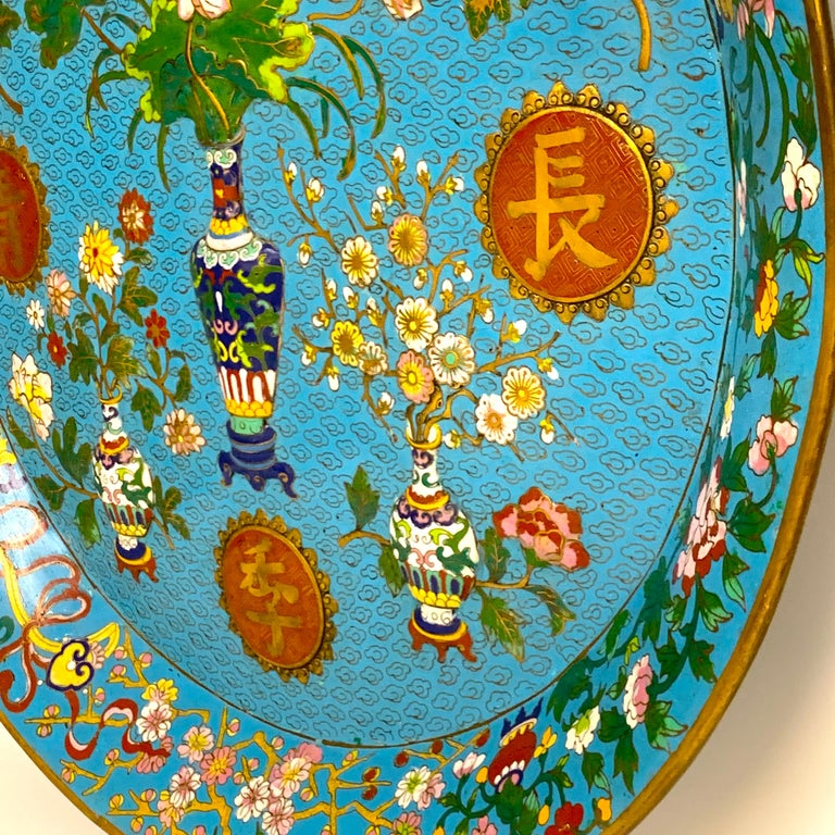 Exquisite Ming Style Cloisonné Charger and Stand For Sale 2
