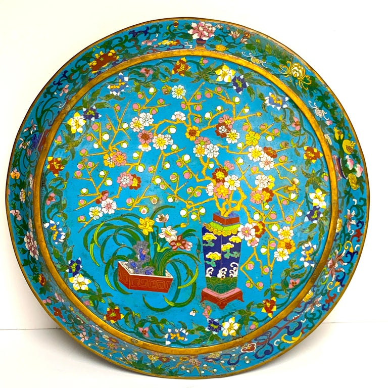 Exquisite Ming Style Cloisonné Charger and Stand For Sale 4