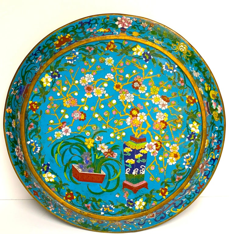 Exquisite Ming Style Cloisonné Charger and Stand For Sale 5