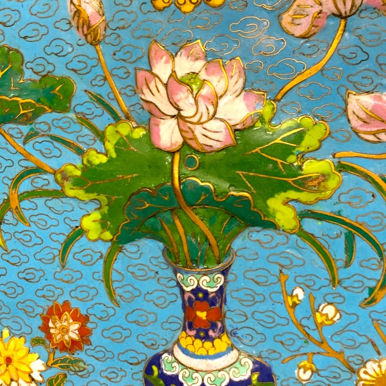 Exquisite Ming Style Cloisonné Charger and Stand For Sale 6
