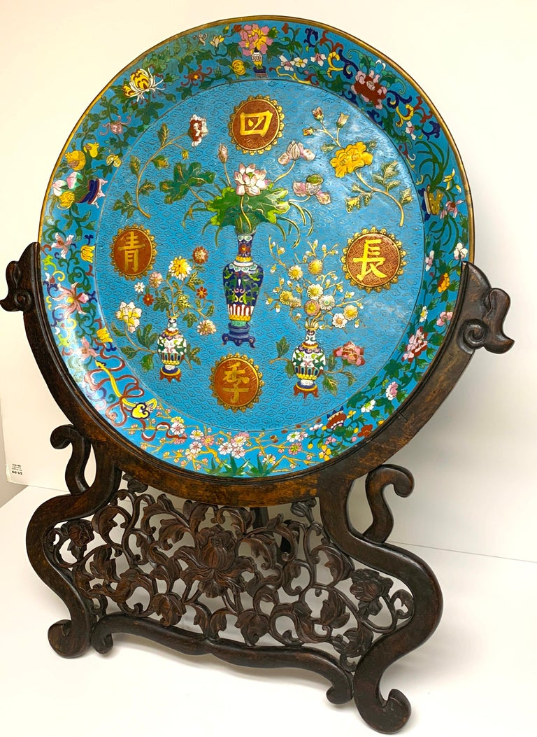Chinese Export Exquisite Ming Style Cloisonné Charger and Stand For Sale