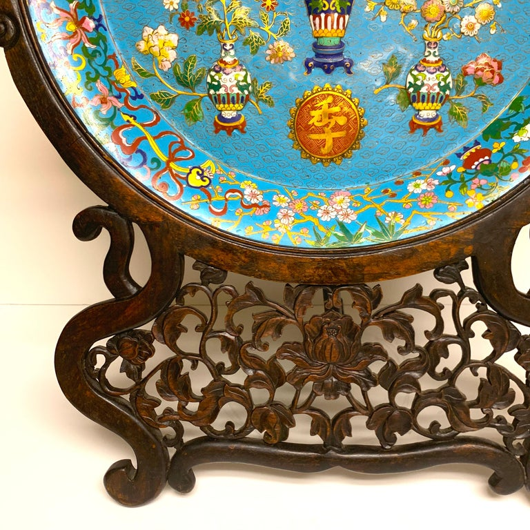 Chinese Exquisite Ming Style Cloisonné Charger and Stand For Sale