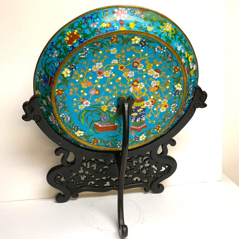 Carved Exquisite Ming Style Cloisonné Charger and Stand For Sale