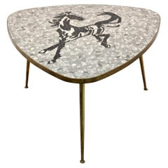 Exquisite Mosaic and Brass Coffee or Side Table by Berthold Müller, 1960s