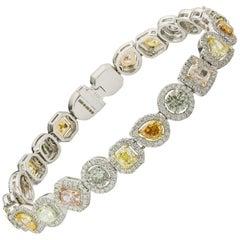 Exquisite Multicolored Fancy Diamond Link Bracelet