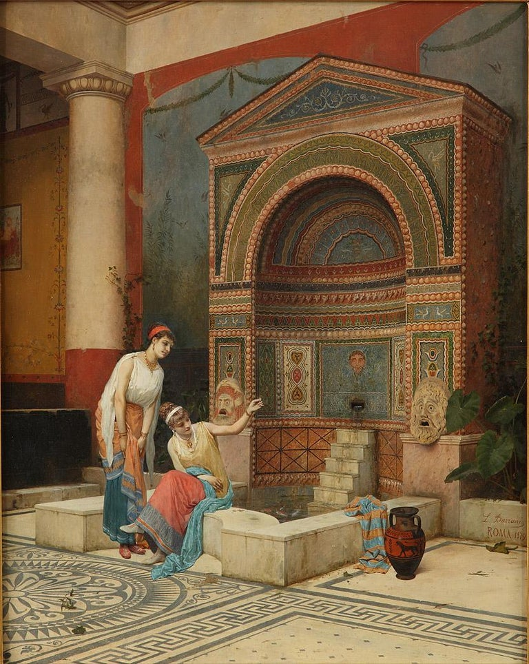 Signed L. Bazzani and dated Roma 1879 Italian School  A scene set in an atrium, the floor of which is decorated with a rose mosaic and Greek friezes. Showing two women by a fountain richly decorated with mosaics and grotesque figures.  Luigi