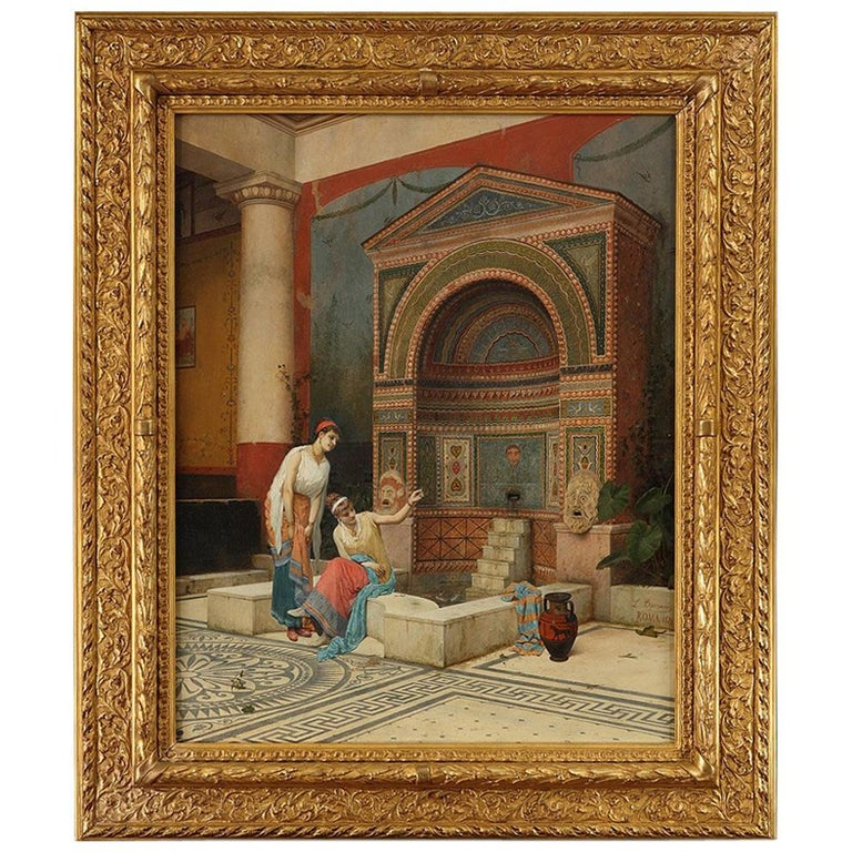 """Exquisite Oil on Panel """"Women in a Pompeian atrium"""" by L. Bazzani For Sale"""