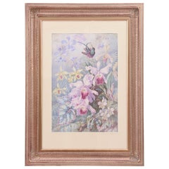 Exquisite Orchid & Hummingbird Watercolor by William Morley, Antique Oversize
