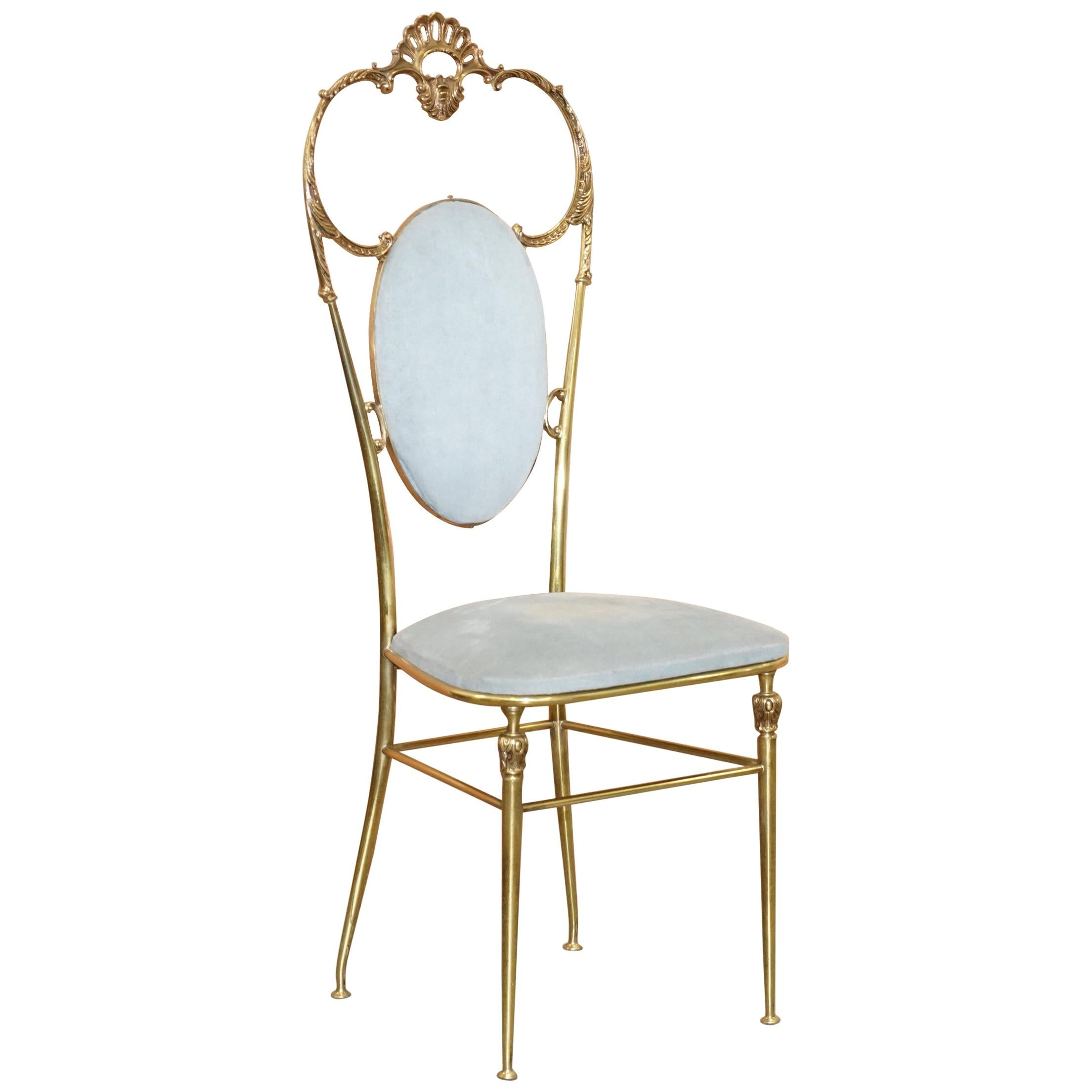 Exquisite Original 1930s Chiavari Hollywood Regency Brass Occasional Side Chair