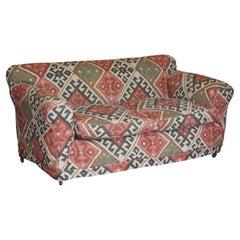 Exquisite Original Victorian Kilim Upholstered Sofa Hardwood Turned Front Legs