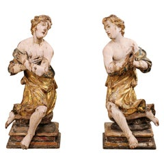 Exquisite Pair of 18th Century Italian Angelic Wood Carved Male Figures